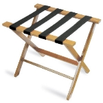 CSL Foodservice & Hospitality TLR-100L-1 American Hardwood Luggage Rack w/ Black Straps, Light Oak