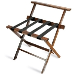 CSL Foodservice & Hospitality TLR-100WBD-1 Luggage Rack w/ Black Straps & High Back, Dark Oak