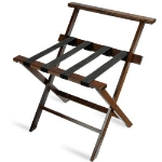 CSL Foodservice & Hospitality TLR-100WBM-1 Luggage Rack w/ Black Straps & High Back, Mahogany