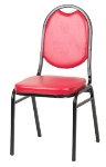 Royal Industries ROY 719 R Round Back Stack Chair w/ Steel Frame & Red Vinyl Upholstery