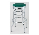 Royal Industries ROY 7710 GN Classic Diner Bar Stool w/ Chrome Frame & Green Seat