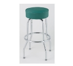 Royal Industries ROY 7711-1 KD GN Chrome Single Ring Bar Stool w/ Plastic Guides & Green Vinyl Seat
