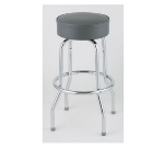 Royal Industries ROY 7711-2 GY Assembled Single Ring Bar Stool w/ Chrome Frame & Gray Seat