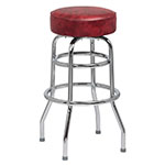 Royal Industries ROY 7712-1 KD CRM Chrome Double Ring Bar Stool w/ Plastic Glides & Crimson Seat