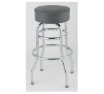 Royal Industries ROY 7712-1 KD GY Chrome Double Ring Bar Stool w/ Plastic Glides & Gray Seat