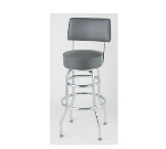 Royal Industries ROY 7716 GY Open Back Double Ring Bar Stool w/ Chrome Frame & Gray Upholstery