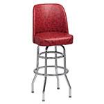 Royal Industries ROY 7722 CRM Double Ring Bar Stool w/ Chrome Frame & Crimson Vinyl Bucket Seat