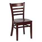 Royal Industries ROY 8001 W Ladder Back Wood Chair w/ Hardwood Seat & Walnut Finish