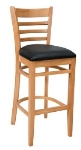 Royal Industries ROY 8002 N R Ladder Back Bar Stool w/ Natural Finish & Red Upholstered Seat