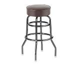Royal Industries ROY 8812-2 BRN Assembled Black Double Ring Bar Stool w/ Brown Vinyl Seat