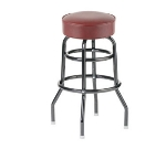Royal Industries ROY 8812-2 CRM Assembled Black Double Ring Bar Stool w/ Crimson Vinyl Seat