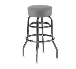 Royal Industries ROY 8812-2 GY Assembled Black Double Ring Bar Stool w/ Gray Vinyl Seat