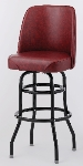 Royal Industries ROY 8822 CRM Black High Back Double Ring Bar Stool w/ Crimson Vinyl Bucket Seat