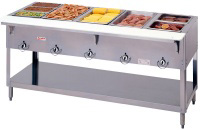 Duke E305 Aerohot Steamtable Hot Food Unit, 5 Wells, SS Top, Carving Board
