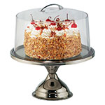 Tablecraft H821422 Cake Stand & Cover Set, 12in Stainless Steel, Acrylic Cover