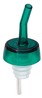 Tablecraft 1807 Free Flow Whiskey Pourer, Plastic, Green Spout, Green Collar