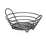Tablecraft BKH717510 Black Powder Coated Metal Round Serving Basket, 10 x 3-1/4-in