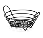 Tablecraft BKH71758 Black Powder Coated Metal Round Serving Basket, 8 x 3-1/4-in