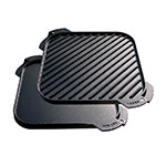 Lodge LSRG3 Lodge Logic Single Burner Reversible Griddle, 10-1/2 in Square, Pre-Seasoned