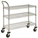 Focus FFC18363C 3 Shelf Cart, Chrome Plated, 18 in x 36 in, 37 in H