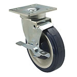 Focus FPCST355 Universal Plate Caster Set w/ Brake, 250-lb Capacity, 5-in Diameter