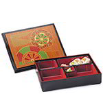 GET 00219-F Bento Box w/ Cover, 5 Compartments, Japanese