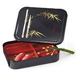 GET 171-F Bento Box w/Cover, Red/Black, Japanese Fuji
