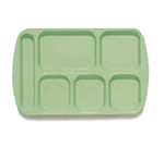 GET TL-151-G School Tray, 6 Compartment, Left-Handed, Green