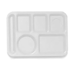 GET TL-152-W School Tray, 6 Compartment, Left-Handed, White