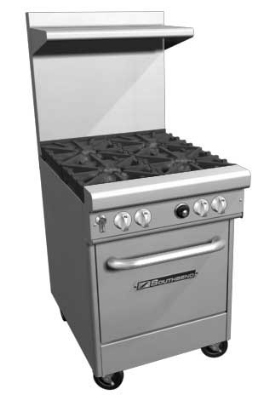 Southbend 4241E LP 24-in Restaurant Range w/ 4-Non-Clog Standard Burners, Oven, LP