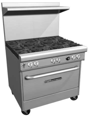 Southbend 4363D-2CR LP 36-in Range w/ 2-Star Saute Burners & Right Charbroiler, Oven, LP