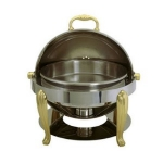 Update International BEL17 Bel Air Chafer, Round, Roll Top, Solid Brass Legs And Handles