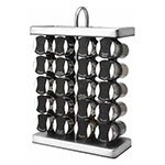 Olde Thompson 25680 Spice Rack, Traditional, Holds 20, Chrome/Black Flip-Top Lid, Filled