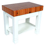 John Boos CHY-HMST36245-AL Homestead Block Table, 5 in End Grain Cherry, Alabaster Base, 36 x 24 in