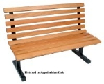 John Boos CPB60-K Convenience Park Bench With Back, Slatted, Steel Tube Frame, 60 in Oak