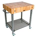 John Boos CUCD15 Cucina D'Amico Cart, 24 W x 30 L x 35 in H, S/S Shelf, Maple Top