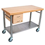 John Boos CUCIC04 Cucina Magnifico Cart, 24 W x 48 L x 35 in H, Drawers, S/S Shelf, Electric Strip