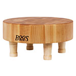 John Boos MCR1 Chopping Block, Maple, 4 Wooden Feet, 12 in Dia x 3 in Thick