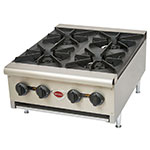 Wells HDHP-2430G Hot Plate w/ 4-Cast Iron Grate Burners, NG/LP