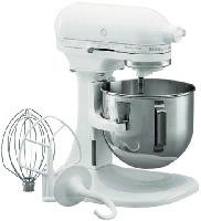Kitchen Aid KM25GOXWH 5 Qt Planetary Mixer w/ SS Bowl, Flat Beater, Dough Hook, Wire Whip