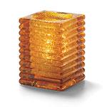Hollowick 1511AJ Horizontal Rib Block Lamp, Amber Jewel, Glass, 4-1/8 in H x 2-7/8 in dia.