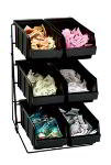 Dispense-Rite WRCOND6 Packeted Condiment Organizer, 6 Section, Wire Rack w/ Bins, Black