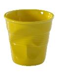 Revol 639294 6.25-oz Porcelain Crumpled Cappuccino Tumbler, Seychelles Yellow