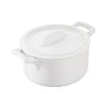 Revol 641587 4-in Porcelain Round Casserole w/ Lid, Handles, 7-oz, White