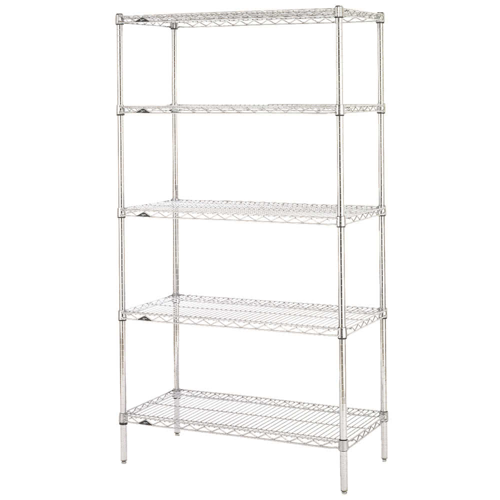 "Metro 5N457C Super Erecta® Chrome Wire Shelving Unit w/ (5) Levels, 48"" x 21"" x 74"""
