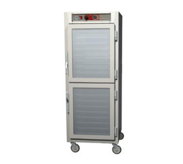 Metro C569-NDC-LPDS C5 Full Height Pass Thru Heated Cabinet, Aluminum, Clear/Solid Dutch, Lip Load