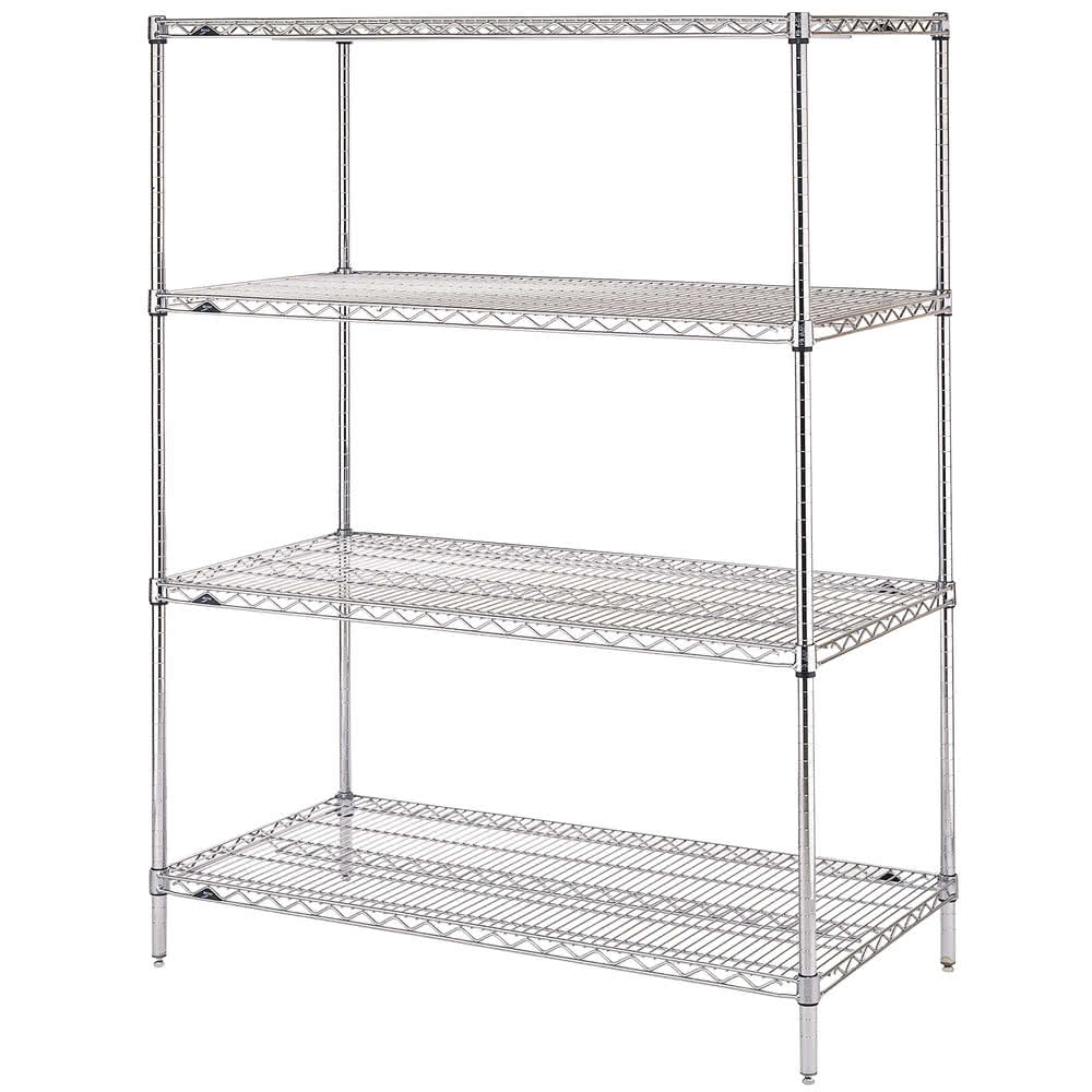"Metro EZ1836BR-4 Super Erecta® Brite Zinc Wire Shelving Unit w/ (4) Levels, 36"" x 18"" x 74"""