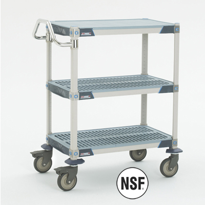 Metro MXUC2436G25 2-Level Polymer Utility Cart w/ 900-lb Capacity, Flat Ledges