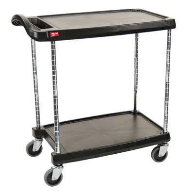 Metro MY1627-24BL Utility Cart - 2-Shelf, Open Base, 300-lb Capacity, Black