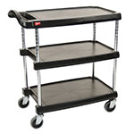 Metro MY1627-34BL Utility Cart - 3-Shelf, Open Base, 400-lb Capacity, Black